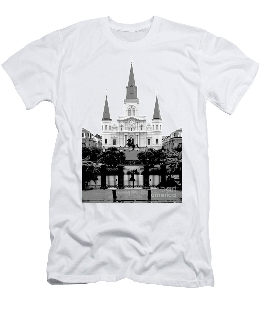 Travelpixpro New Orleans Men's T-Shirt (Athletic Fit) featuring the digital art St Louis Cathedral On Jackson Square In The French Quarter New Orleans Conte Crayon Digital Art by Shawn O'Brien