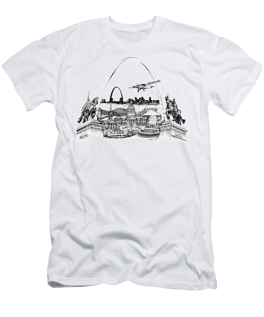 City Drawing Men's T-Shirt (Athletic Fit) featuring the drawing St. Louis Highlights Version 1 by Dennis Bivens
