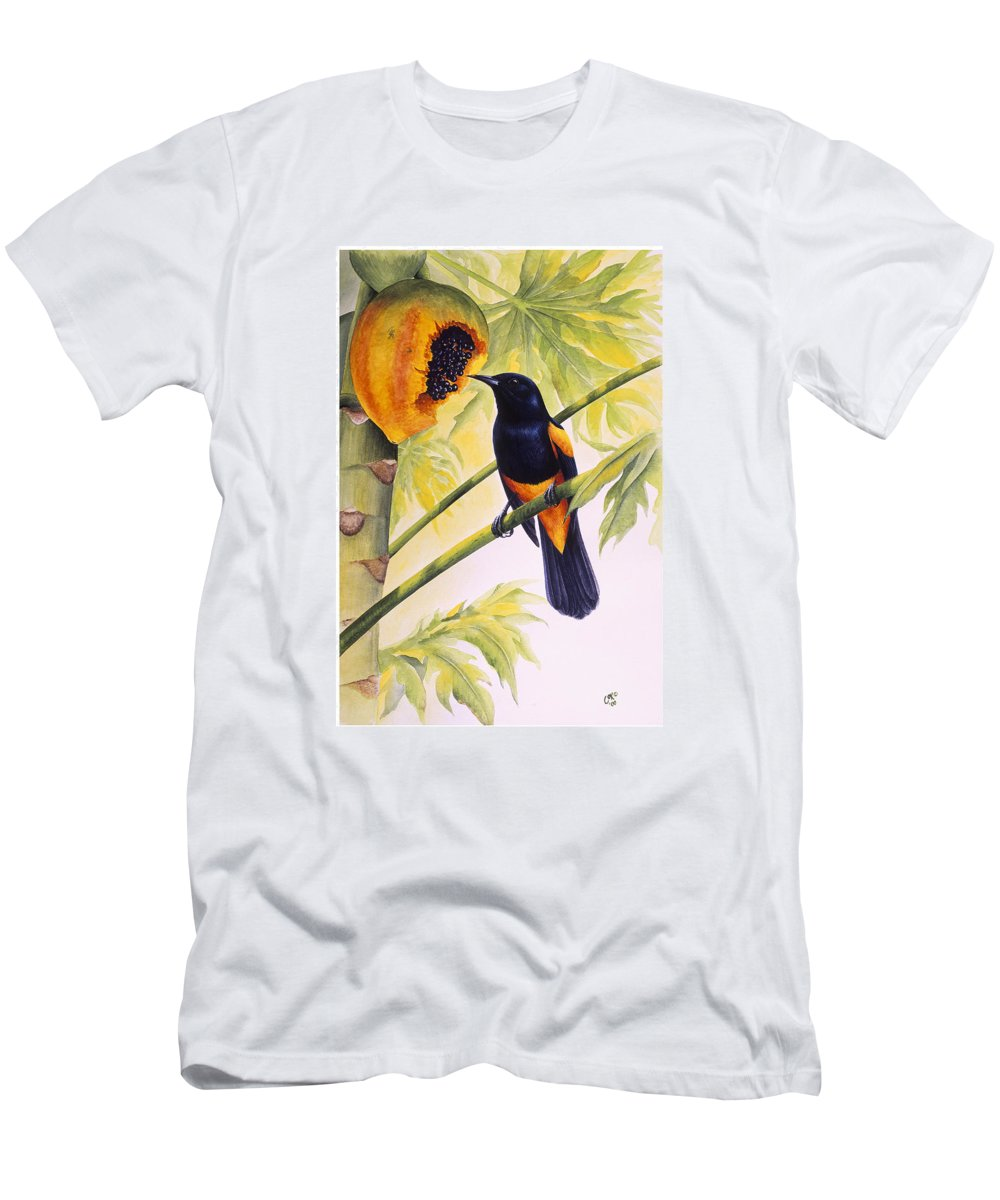 Chris Cox Men's T-Shirt (Athletic Fit) featuring the painting St. Lucia Oriole And Papaya by Christopher Cox