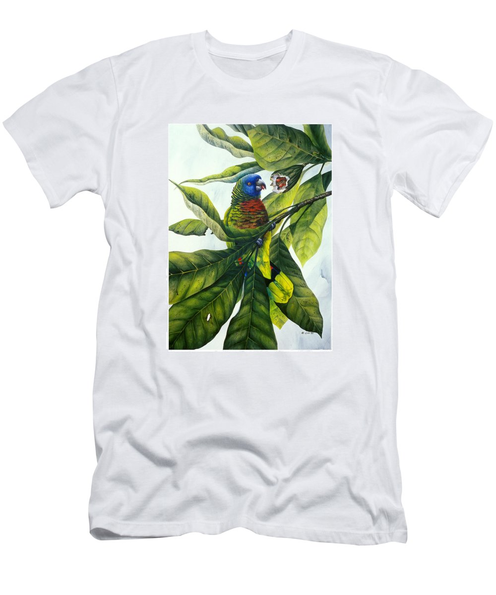 Chris Cox Men's T-Shirt (Athletic Fit) featuring the painting St. Lucia Parrot And Fruit by Christopher Cox