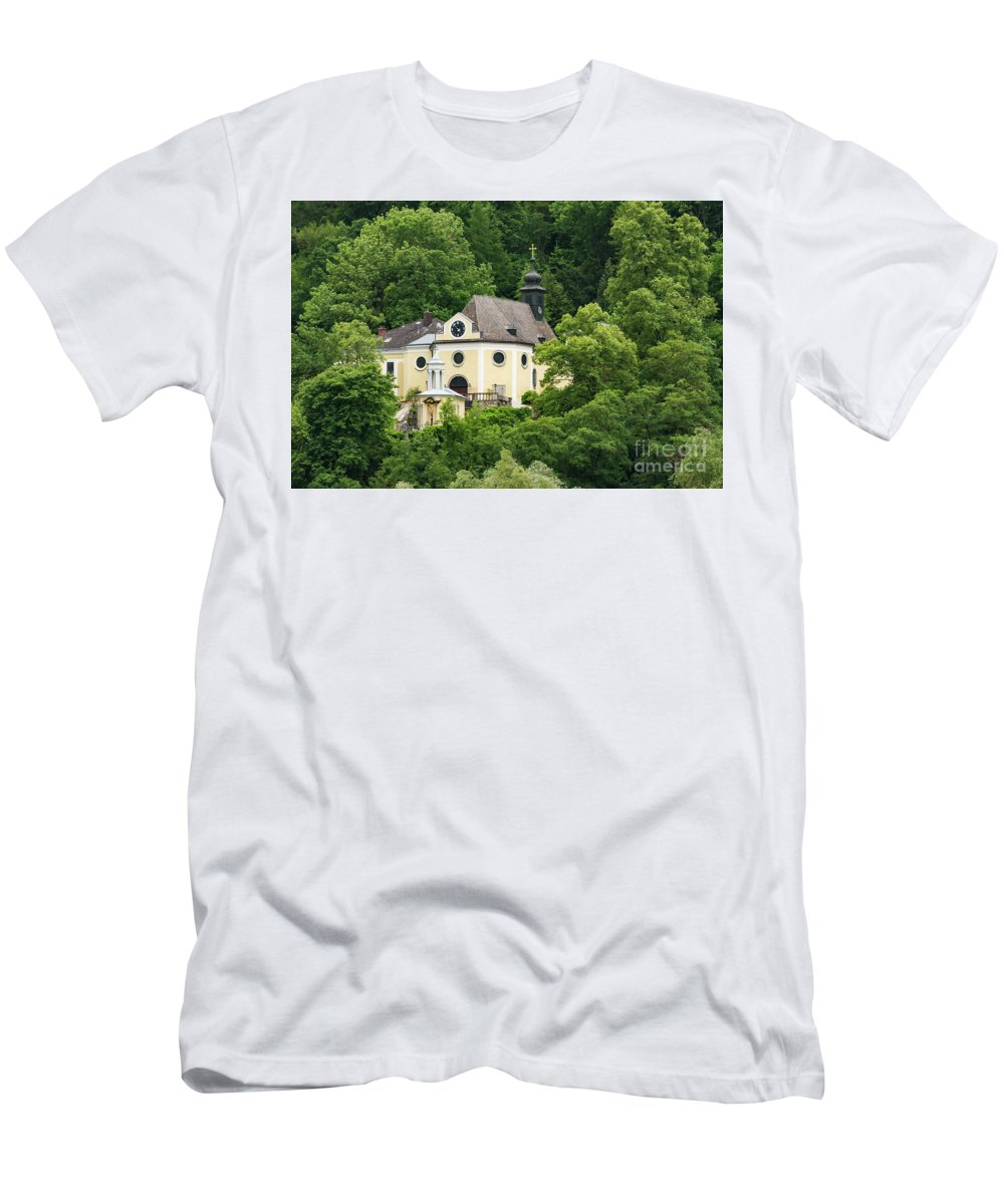 Linz Ausria St. Margarethen Kirche Church Churches Landscape Landscapes Place Of Worship Places Of Worship Building Buildings Structure Structures Architecture Tree Trees Men's T-Shirt (Athletic Fit) featuring the photograph St. Margarethen Kirche by Bob Phillips