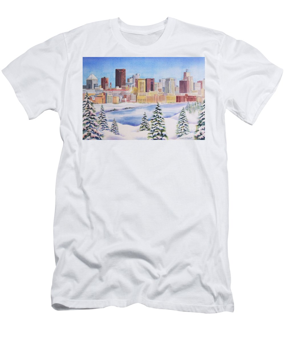 St. Paul Skyline Men's T-Shirt (Athletic Fit) featuring the painting St. Paul Skyline by Deborah Ronglien