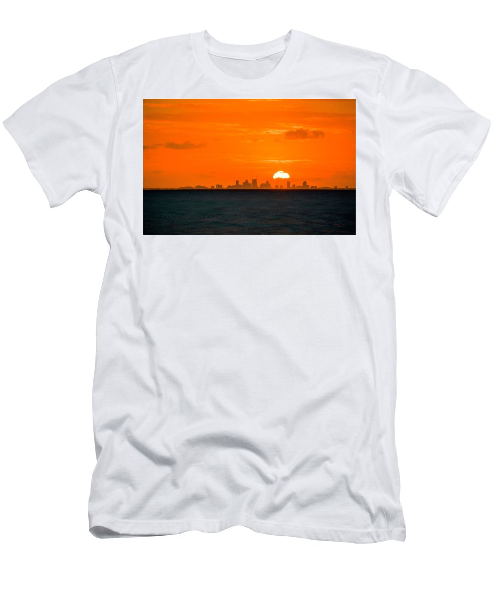Sunset Men's T-Shirt (Athletic Fit) featuring the photograph St. Pete Fireball by Marvin Spates