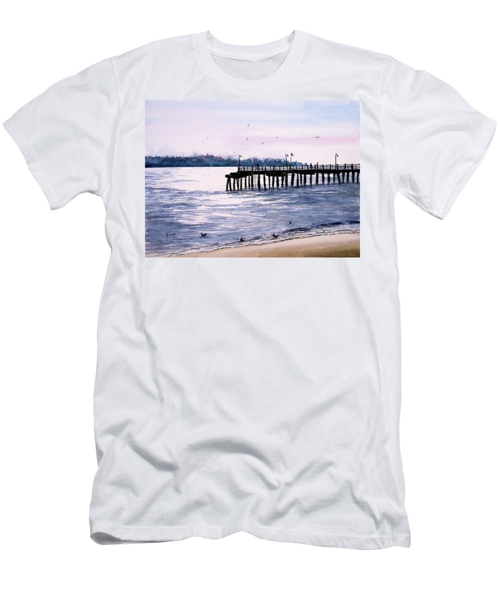 Fishing Men's T-Shirt (Athletic Fit) featuring the painting St. Simons Island Fishing Pier by Sam Sidders