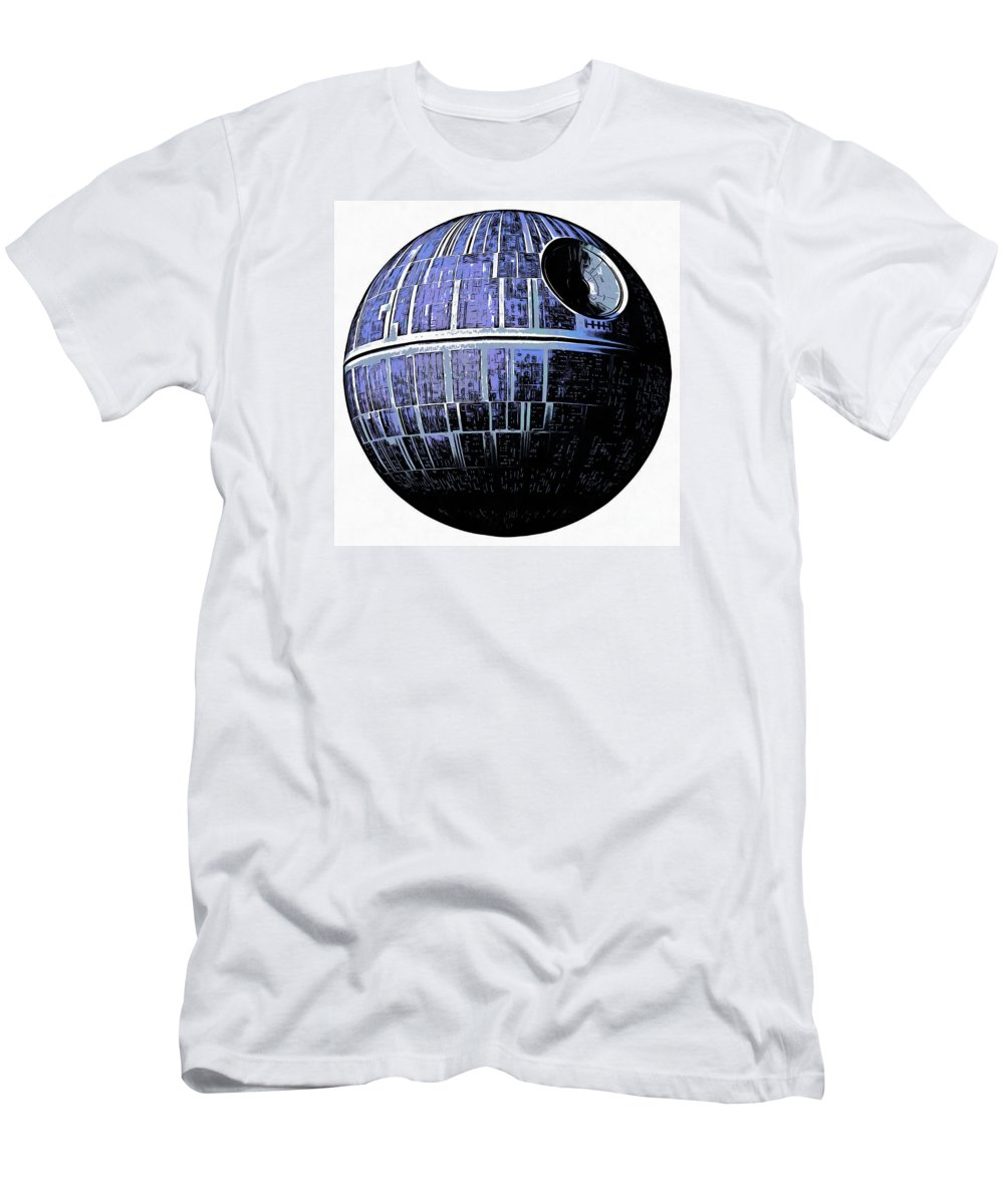 Star Wars T-Shirt featuring the drawing Star Wars Deathstar Graphic by Edward Fielding