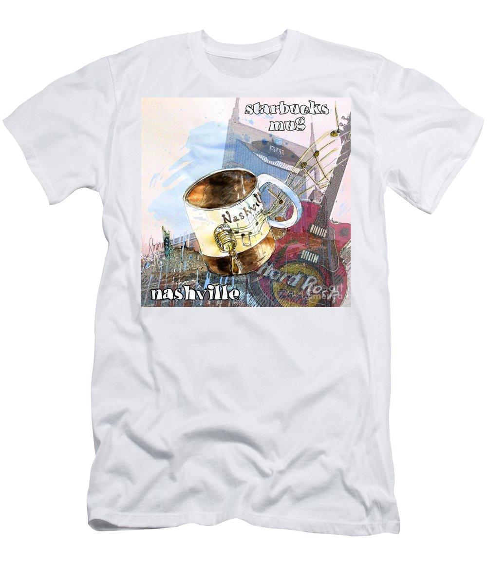 Mugs Men's T-Shirt (Athletic Fit) featuring the painting Starbucks Mug Nashville by Miki De Goodaboom