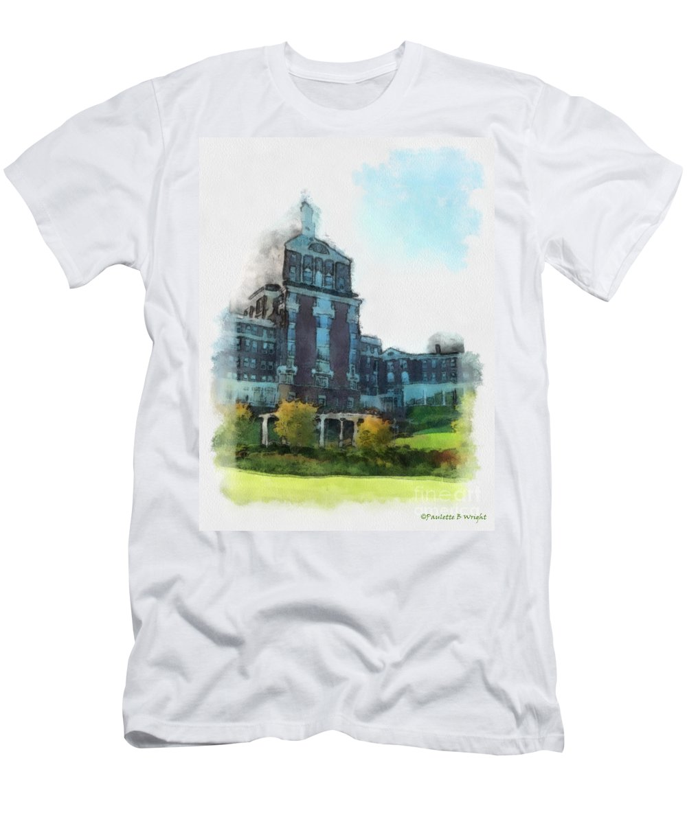 Homestead Men's T-Shirt (Athletic Fit) featuring the painting Stately Beauty by Paulette B Wright