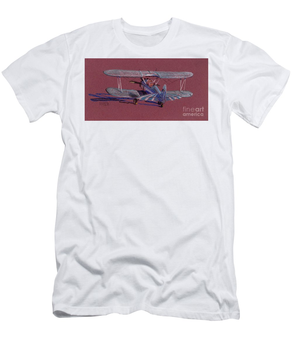 Steerman Biplane Men's T-Shirt (Athletic Fit) featuring the drawing Steerman Biplane by Donald Maier