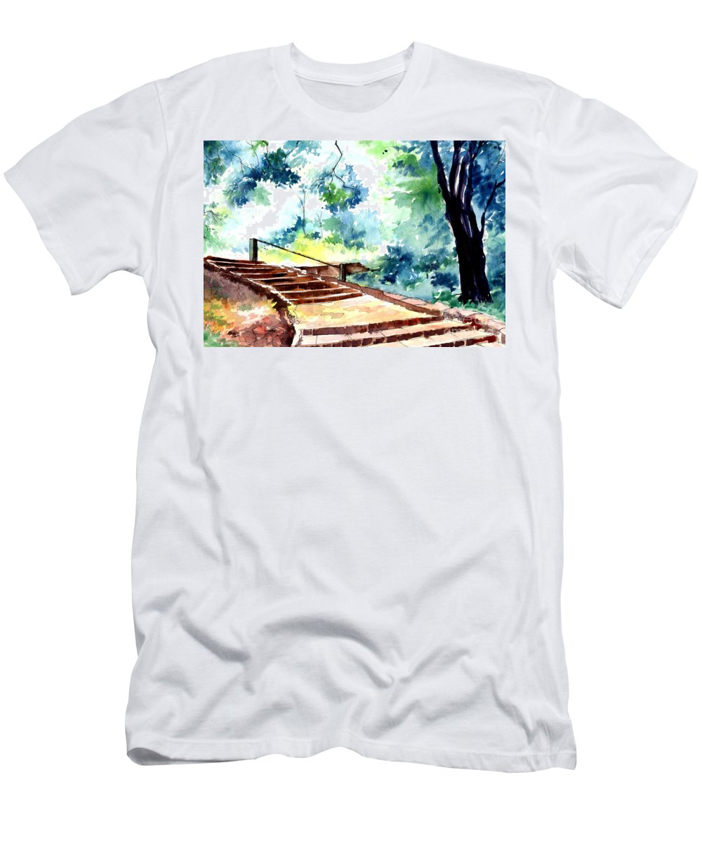 Landscape Men's T-Shirt (Athletic Fit) featuring the painting Steps To Eternity by Anil Nene