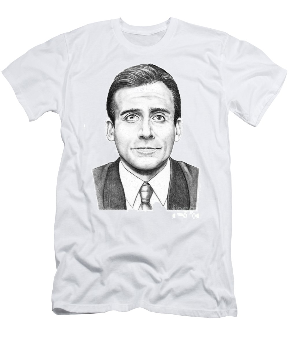Drawing Men's T-Shirt (Athletic Fit) featuring the drawing Steve Carell by Murphy Elliott