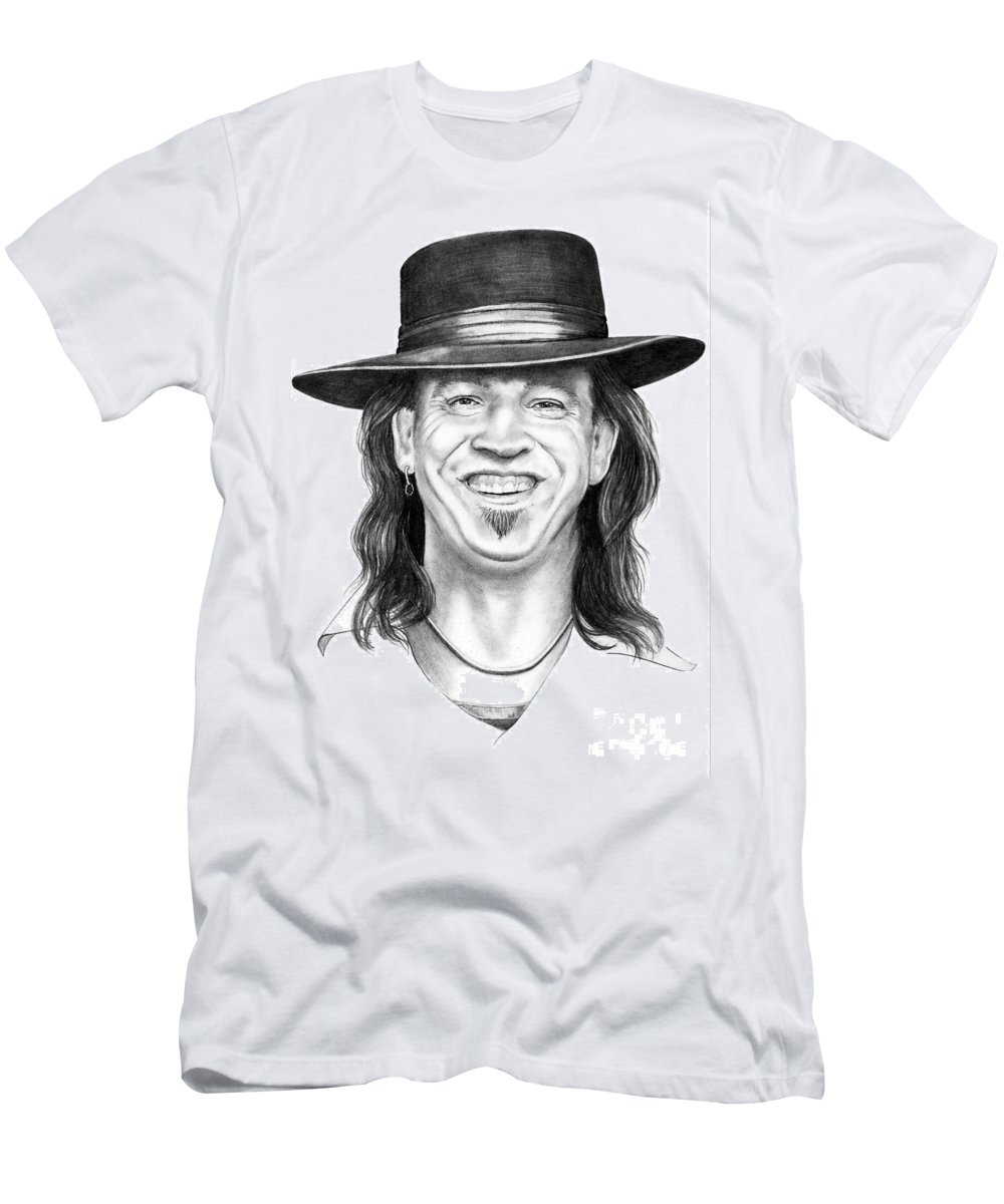 Stevie Ray Vaughn Men's T-Shirt (Athletic Fit) featuring the drawing Stevie Ray Vaughn by Murphy Elliott
