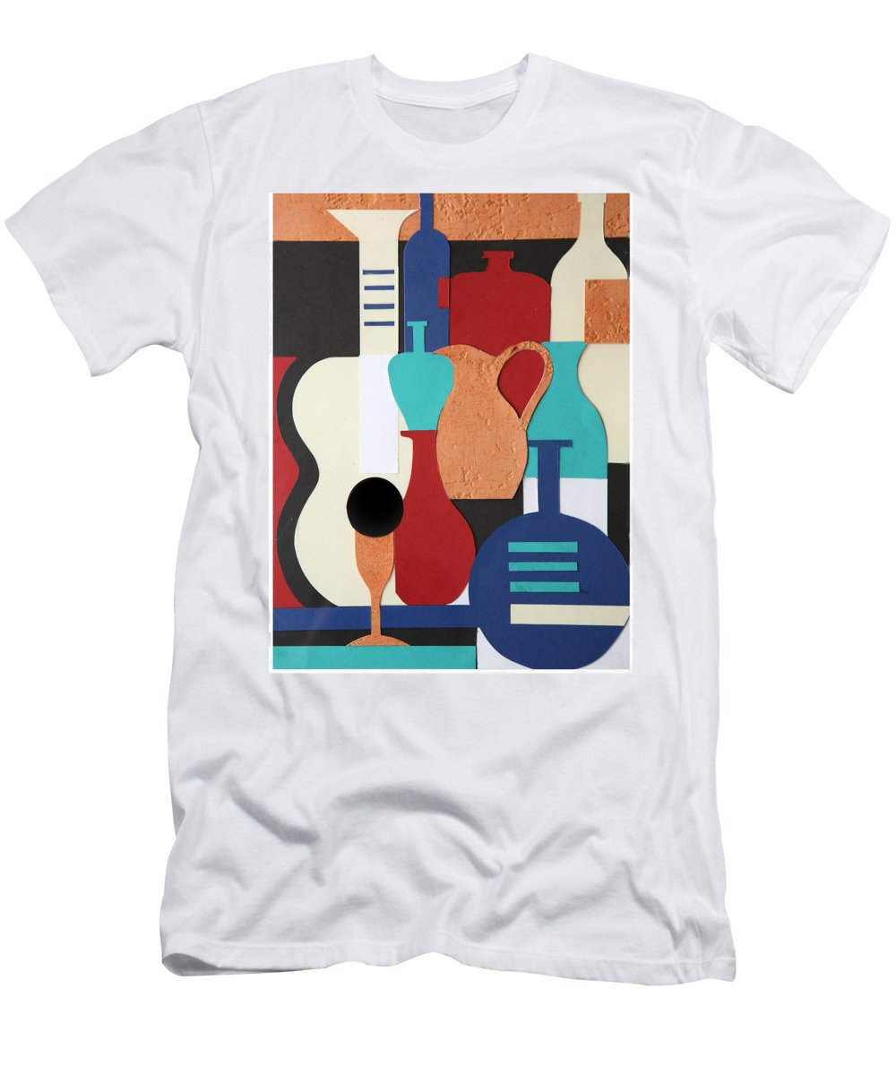 Still Life Men's T-Shirt (Athletic Fit) featuring the mixed media Still Life Paper Collage Of Wine Glasses Bottles And Musical Instruments by Mal Bray