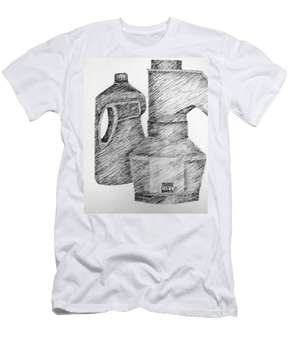 Still Life Men's T-Shirt (Athletic Fit) featuring the drawing Still Life With Popcorn Maker And Laundry Soap Bottle by Michelle Calkins