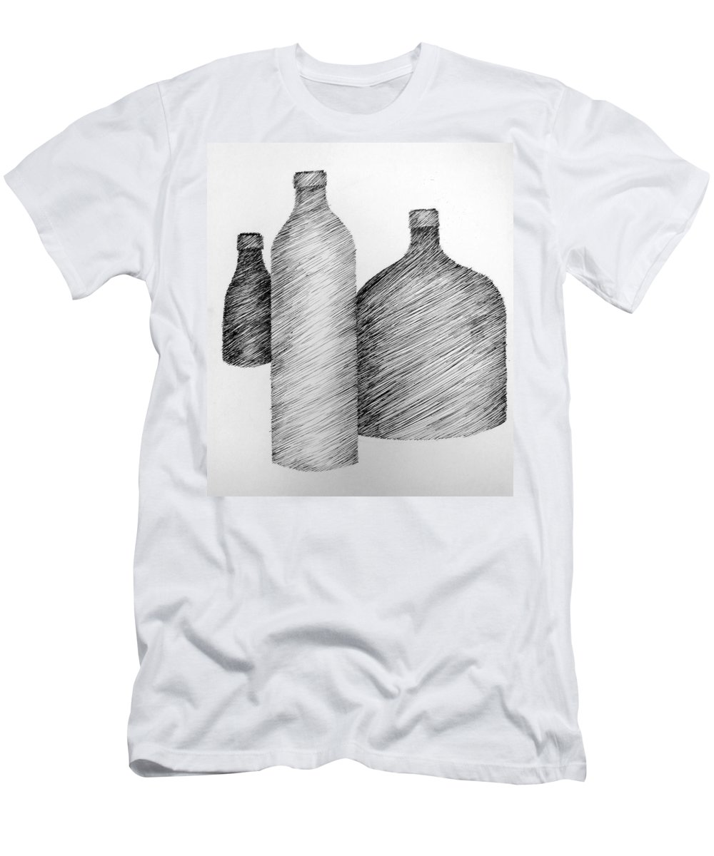 Still Life Men's T-Shirt (Athletic Fit) featuring the drawing Still Life With Three Bottles by Michelle Calkins