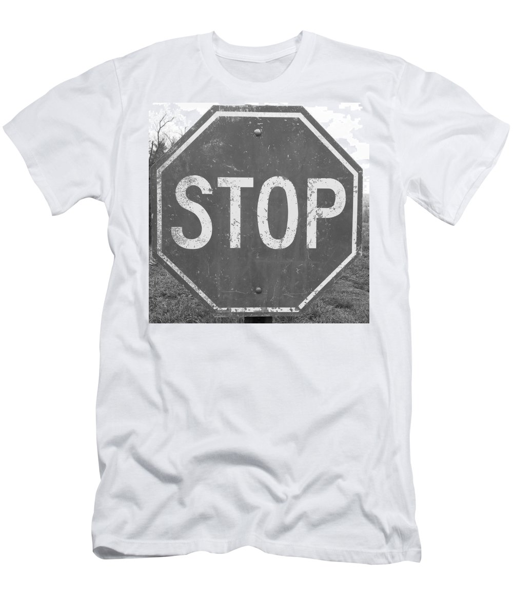 Black And White Men's T-Shirt (Athletic Fit) featuring the photograph Stop by Jessica Weist