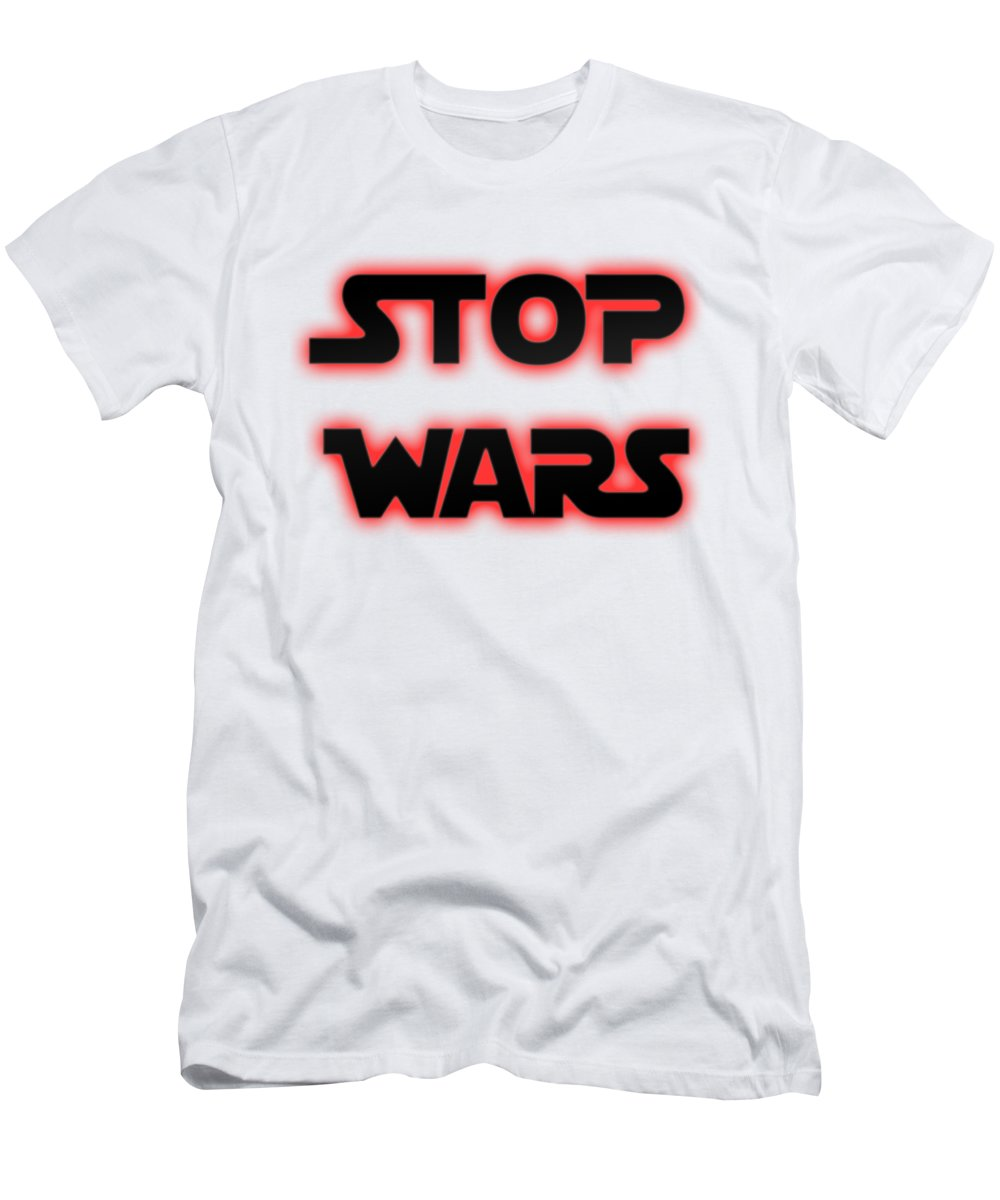 Stop Wars Men's T-Shirt (Athletic Fit) featuring the photograph Stop Wars by Humorous Quotes
