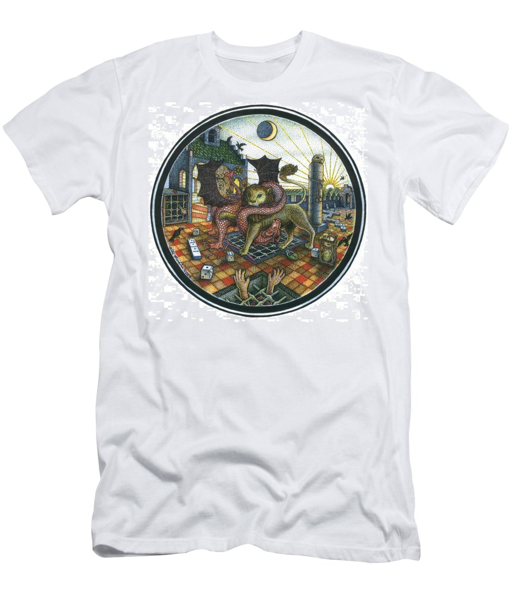 Dragon Men's T-Shirt (Athletic Fit) featuring the drawing Strange Reverie by Bill Perkins