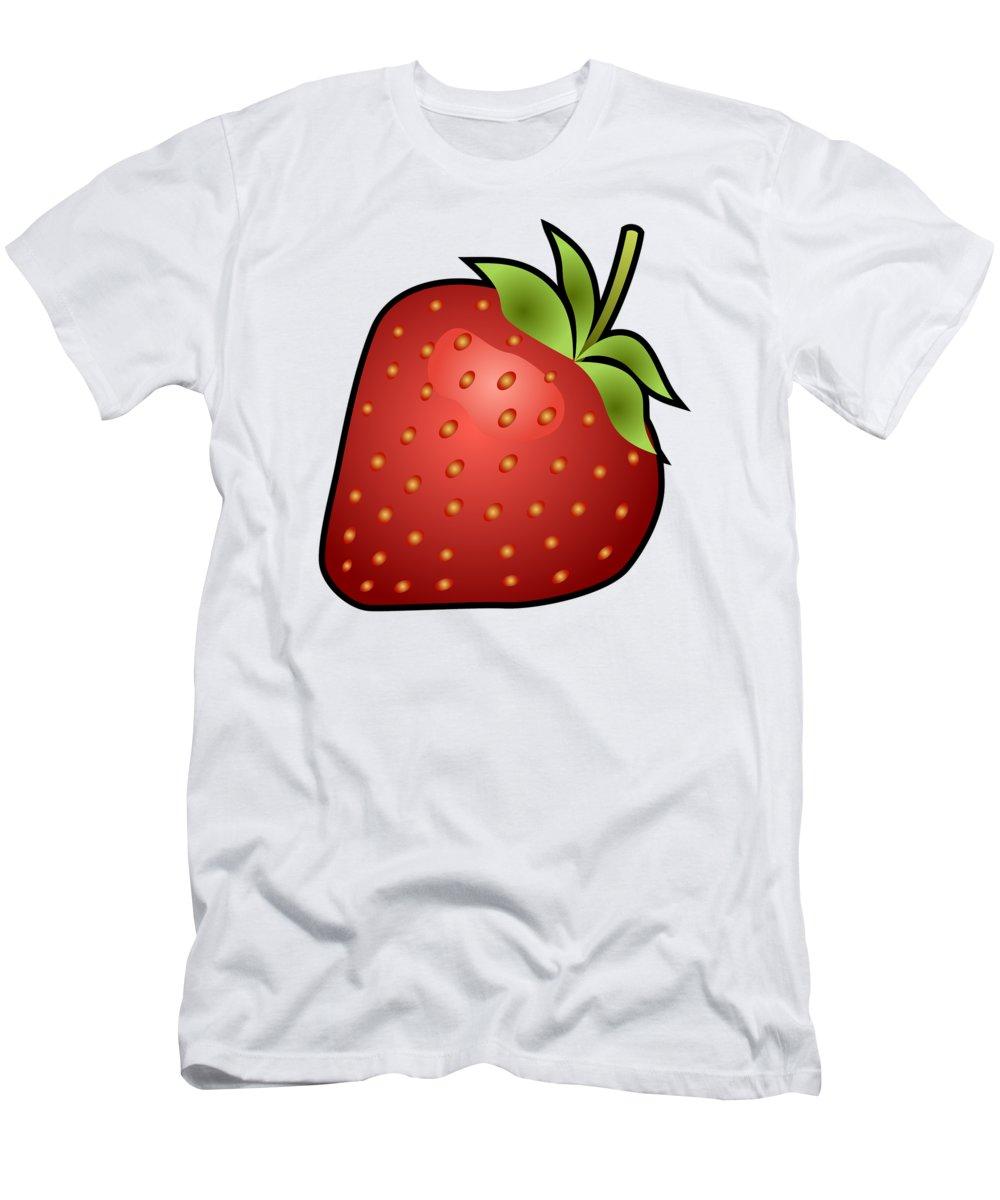 3d Men's T-Shirt (Athletic Fit) featuring the digital art Strawberry Fruit Outlined by Miroslav Nemecek