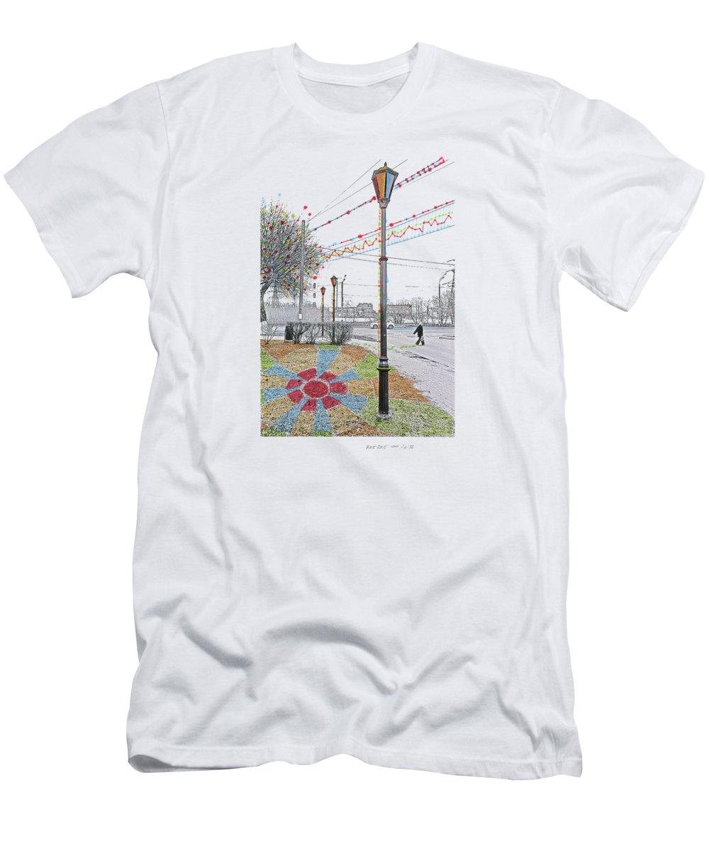 Photographs Men's T-Shirt (Athletic Fit) featuring the photograph Street And Colors. Nizhny Novgorod, Sormovo. 3 May, 2015 by Tatiana Chernyavskaya