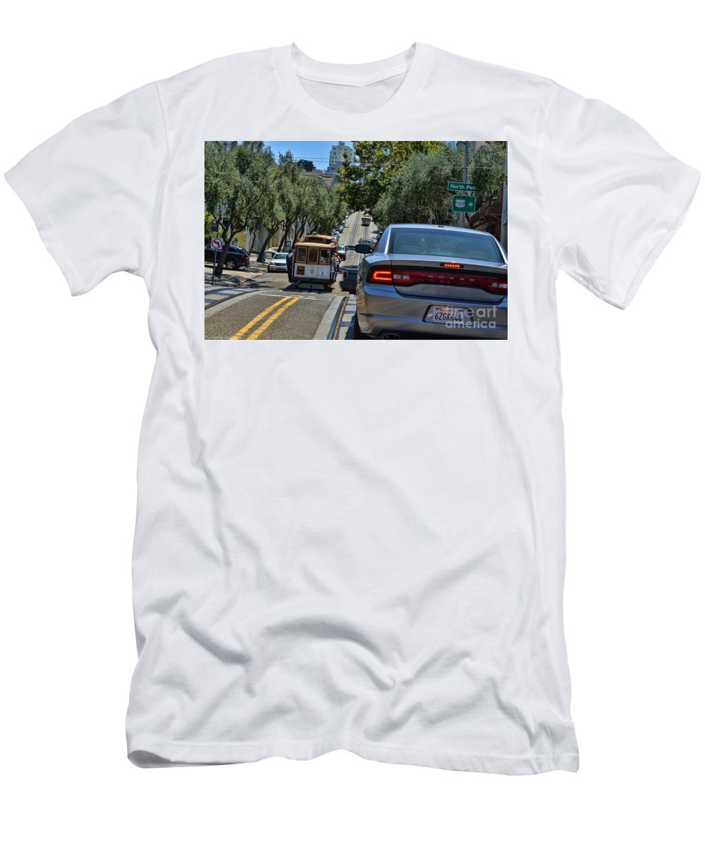 Streets Of San Francisco Men's T-Shirt (Athletic Fit) featuring the photograph Streets Of San Francisco -1 by Tommy Anderson