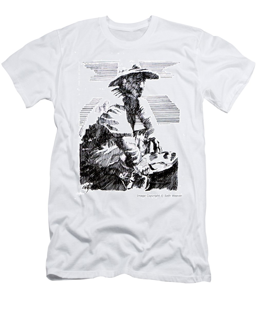 1850's Old West Men's T-Shirt (Athletic Fit) featuring the drawing Striking It Rich by Seth Weaver