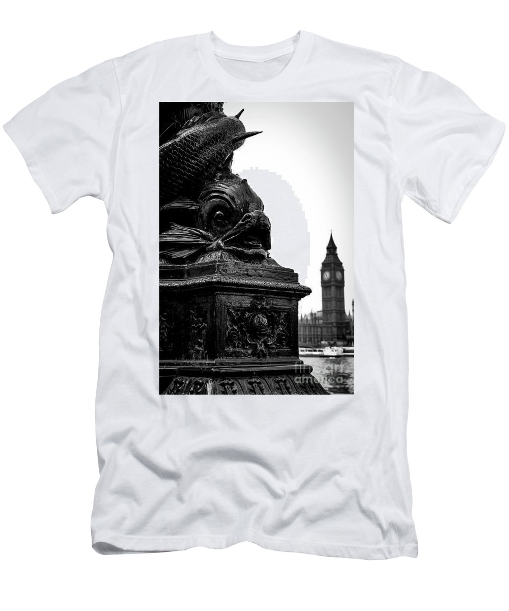 Lamp Post Men's T-Shirt (Athletic Fit) featuring the photograph Sturgeon Lamp Post With Big Ben London Black And White by Marina McLain
