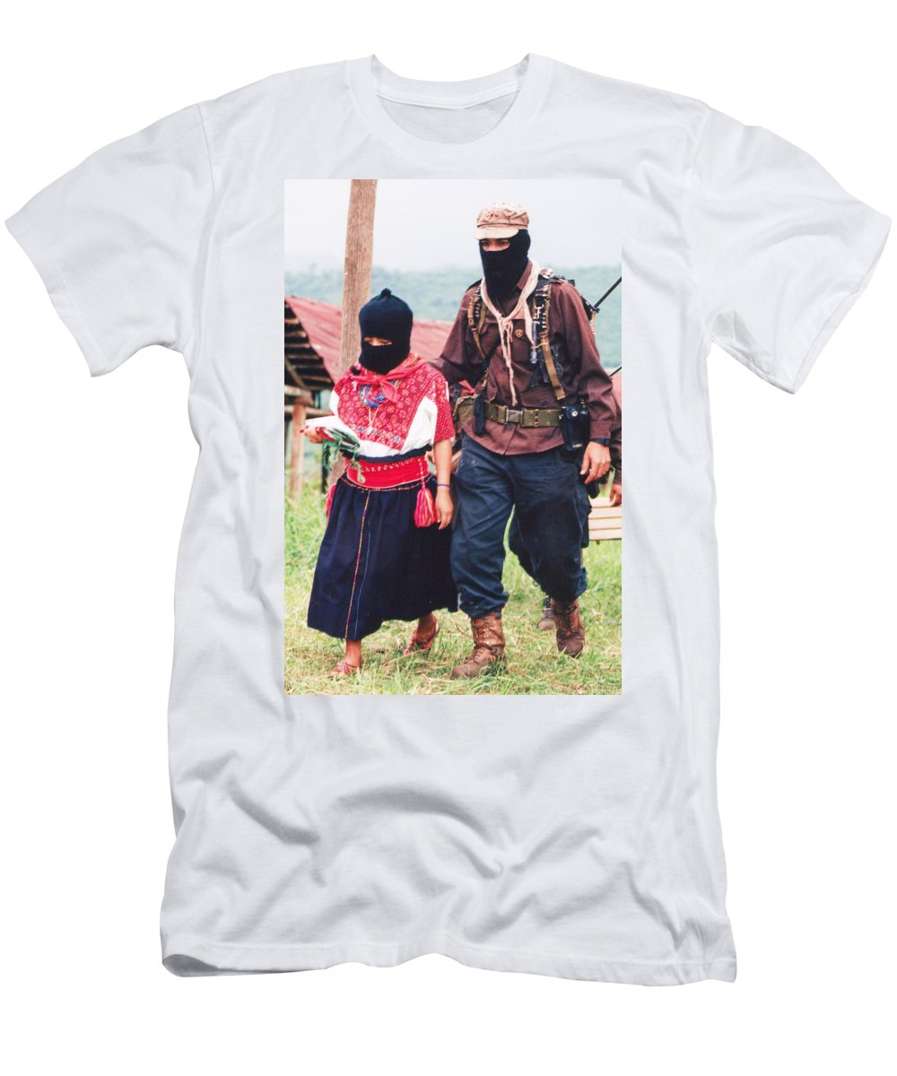 Zapatista Men's T-Shirt (Athletic Fit) featuring the photograph Subcommandante Marcos And Ramona by Omar Shafey