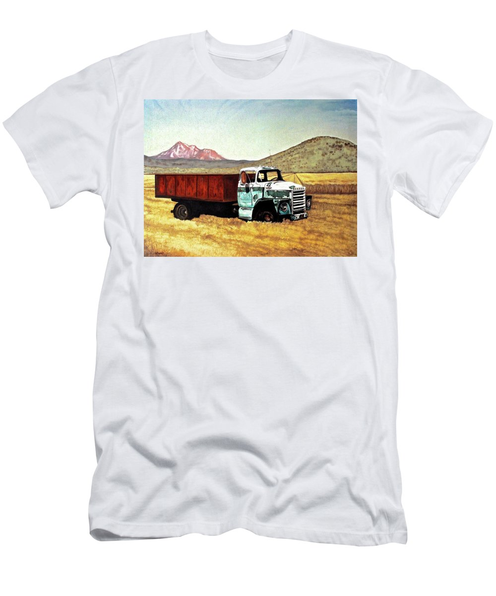 Old Truck Men's T-Shirt (Athletic Fit) featuring the painting Summer Harvest by Wendy Mae Peters