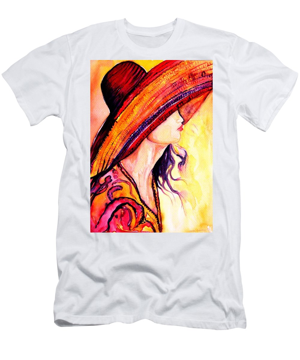 Elegant Lady Men's T-Shirt (Athletic Fit) featuring the painting Summer Hat by Carole Spandau