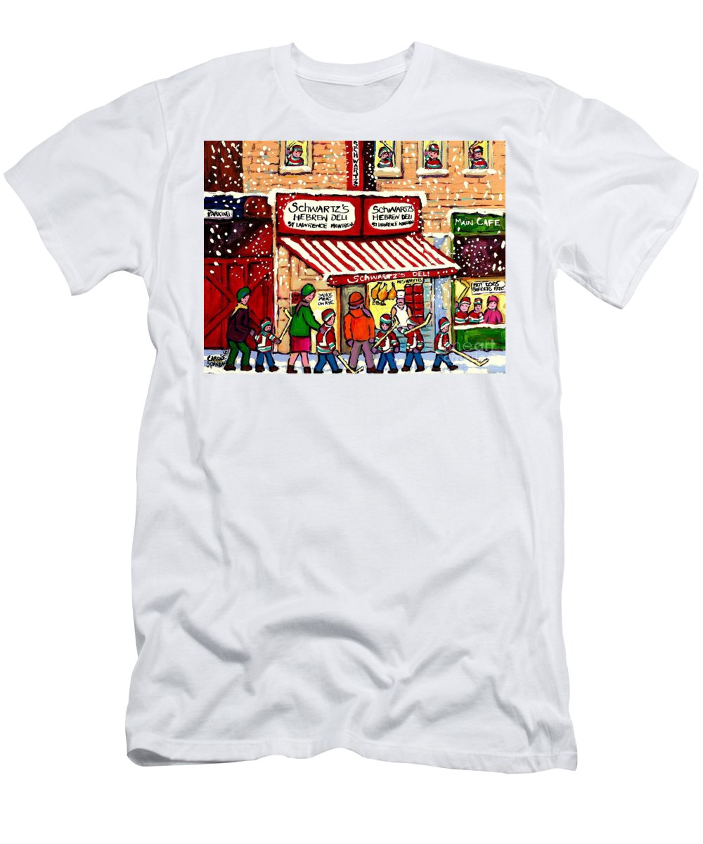 Montreal Men's T-Shirt (Athletic Fit) featuring the painting Sunday Lineup At The Deli by Carole Spandau