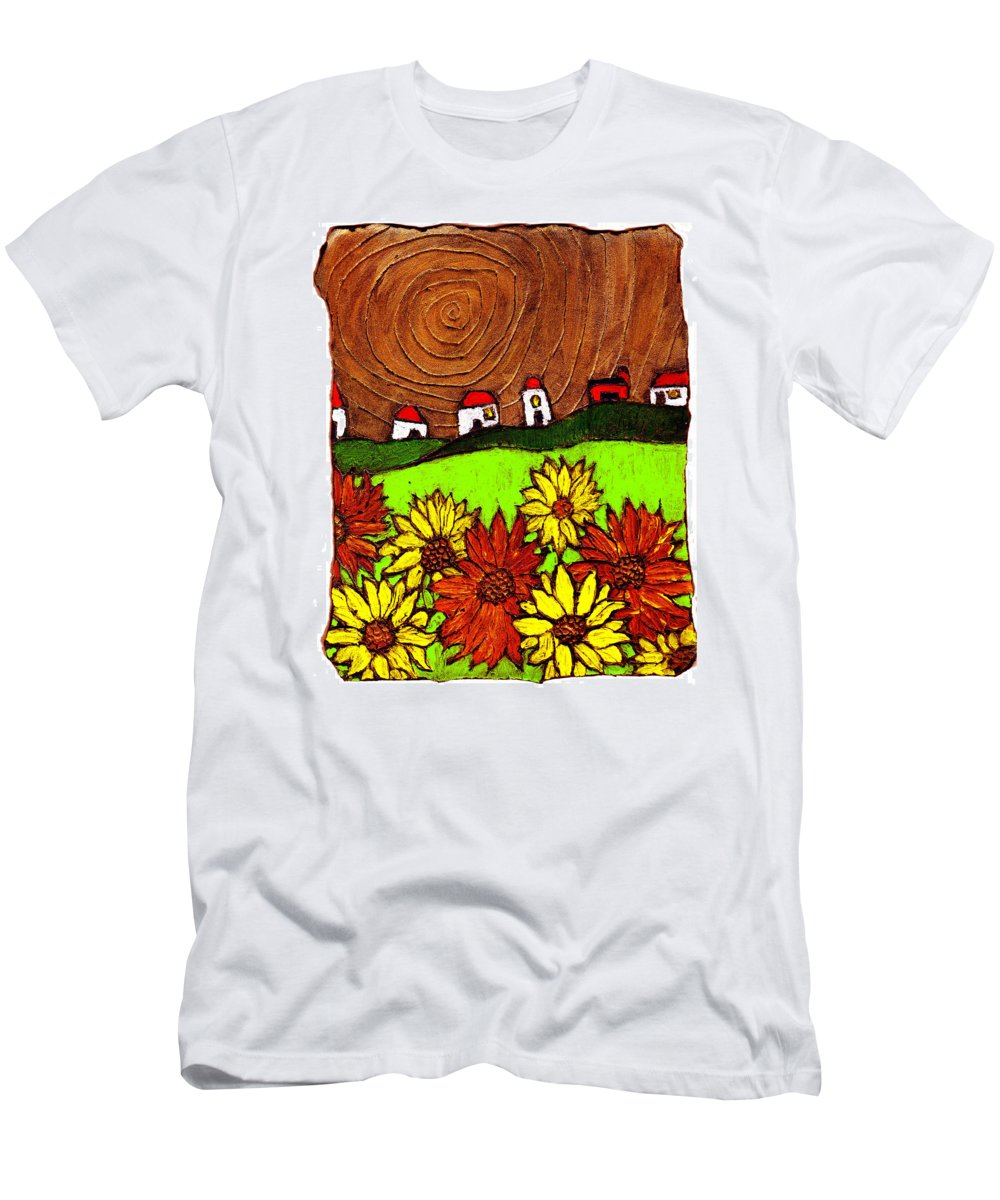 Flowers Men's T-Shirt (Athletic Fit) featuring the painting Sunflowers And Fields by Wayne Potrafka