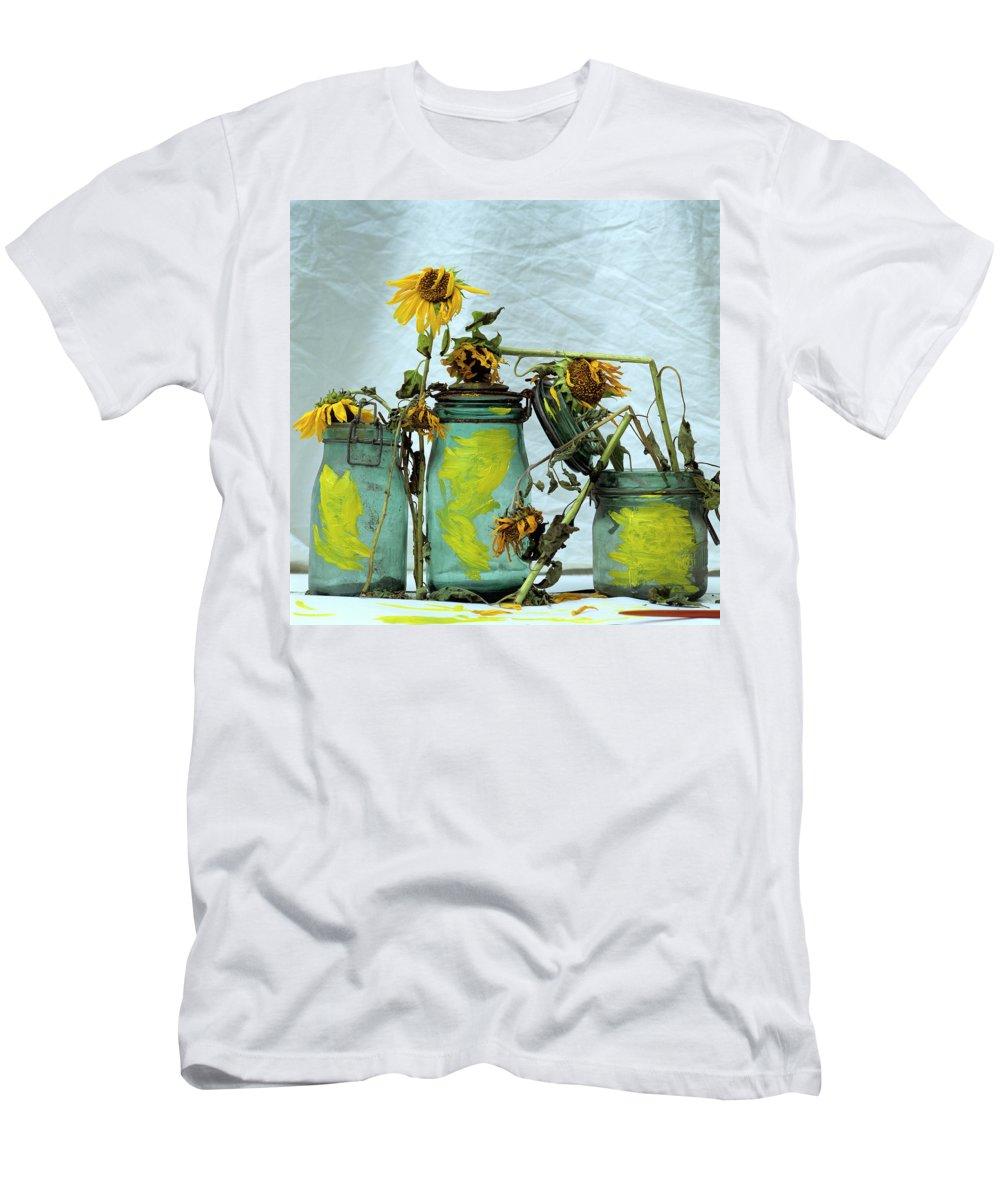 Yellow Men's T-Shirt (Athletic Fit) featuring the photograph Sunflowers by Bernard Jaubert