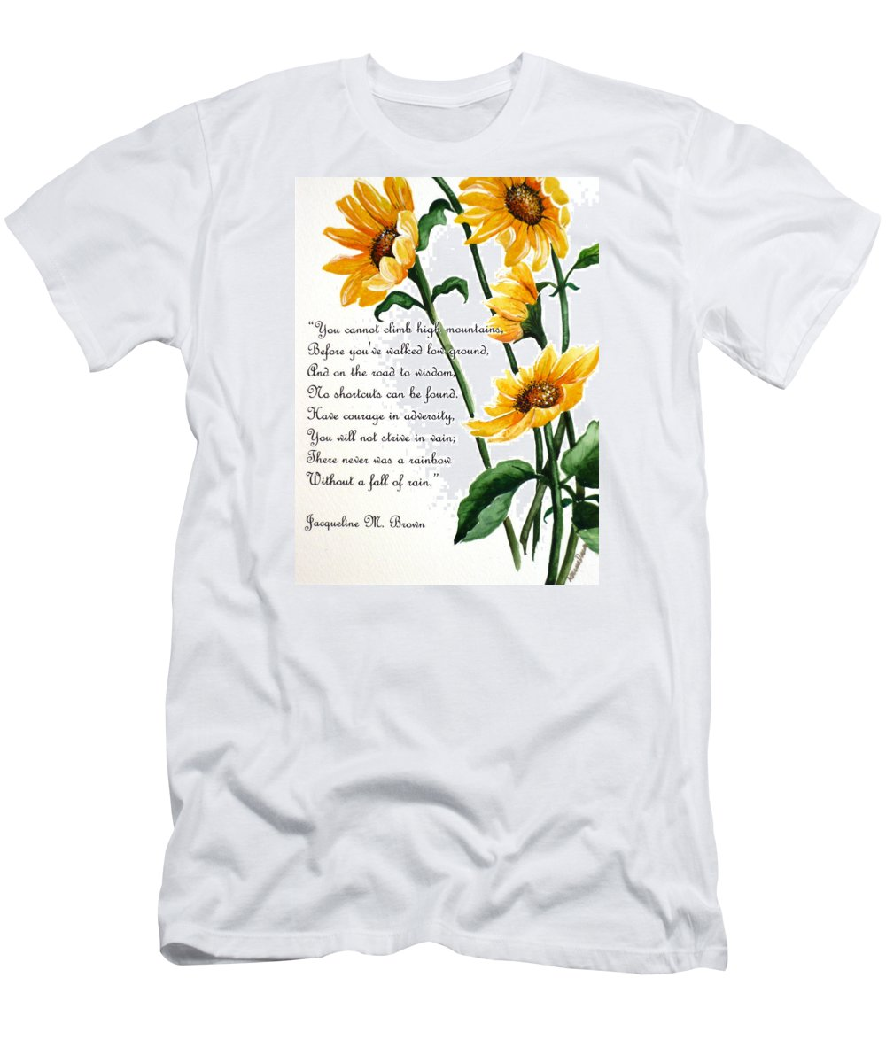 Yellow Sunflowers Men's T-Shirt (Athletic Fit) featuring the painting Sunflowers Poem by Karin Dawn Kelshall- Best