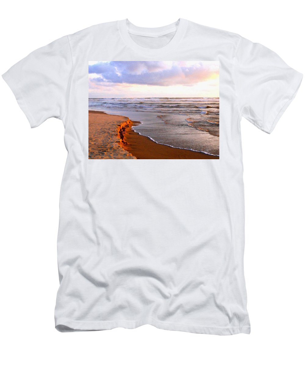Sunlit Men's T-Shirt (Athletic Fit) featuring the photograph Sunlit Cannon Beach by Will Borden