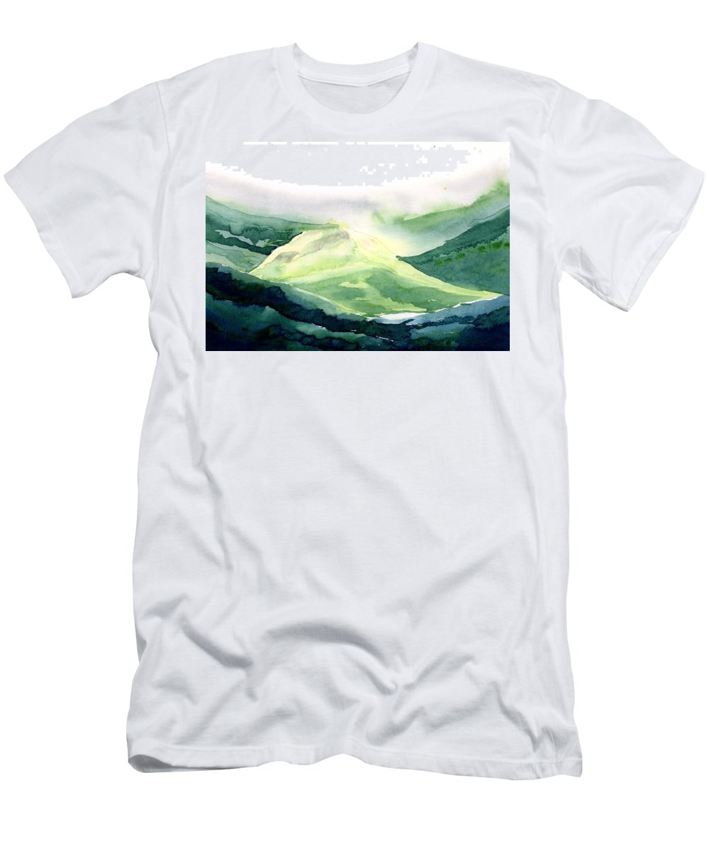 Landscape Men's T-Shirt (Athletic Fit) featuring the painting Sunlit Mountain by Anil Nene