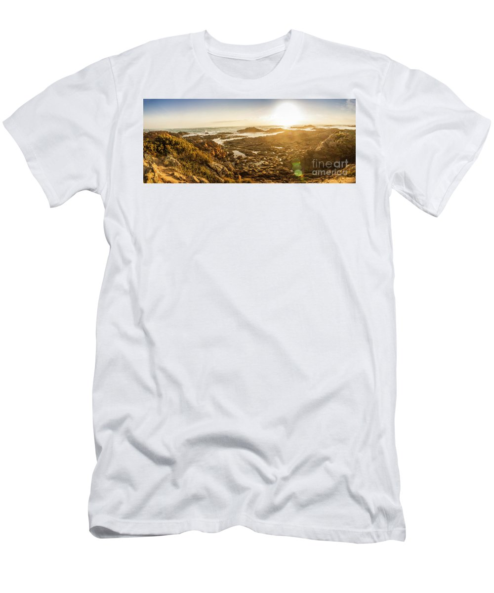 Coastline T-Shirt featuring the photograph Sunlit Seaside by Jorgo Photography - Wall Art Gallery