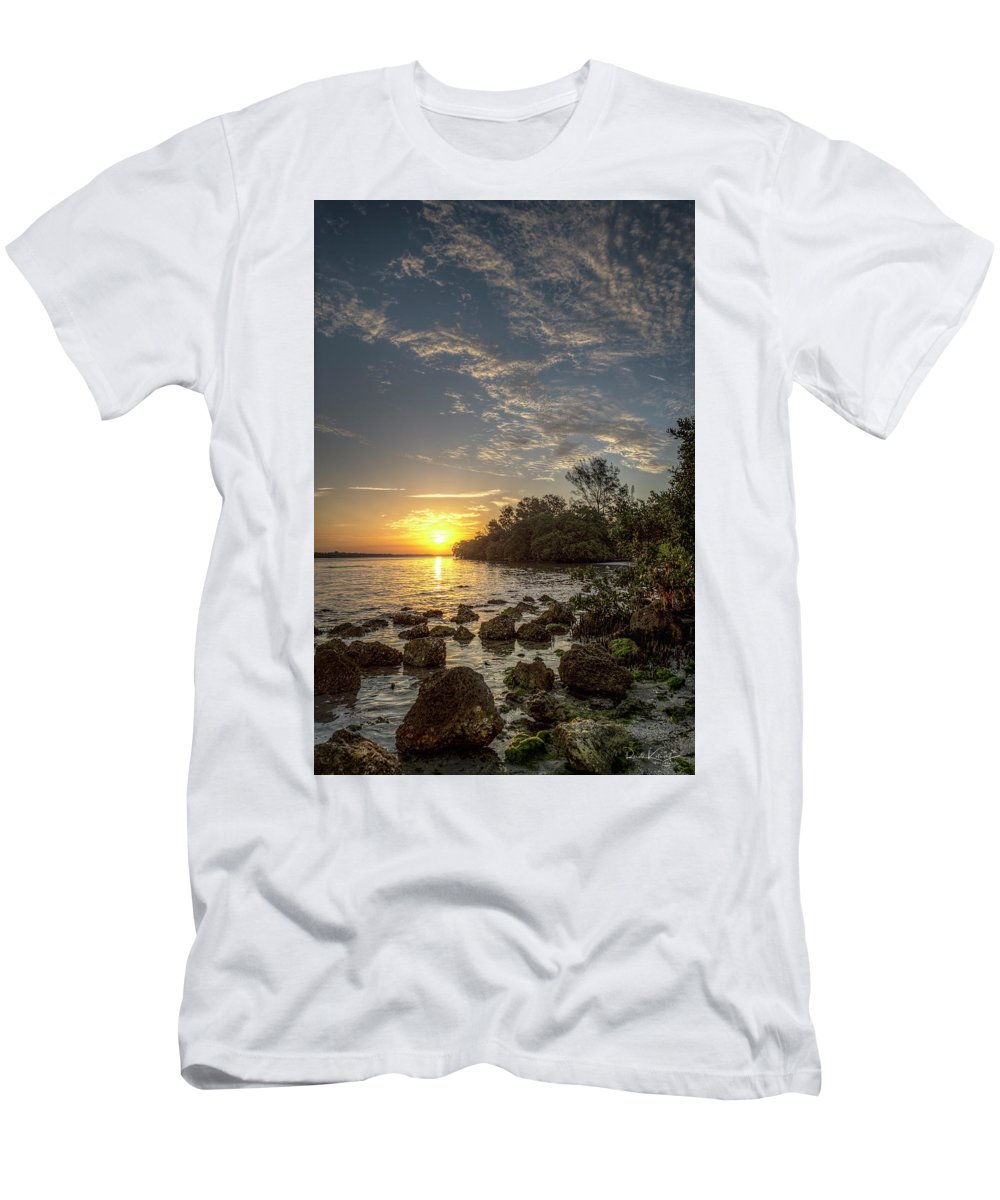 Sunrise Men's T-Shirt (Athletic Fit) featuring the photograph Sunrise At The Sunshine Skyway by Ronald Kotinsky