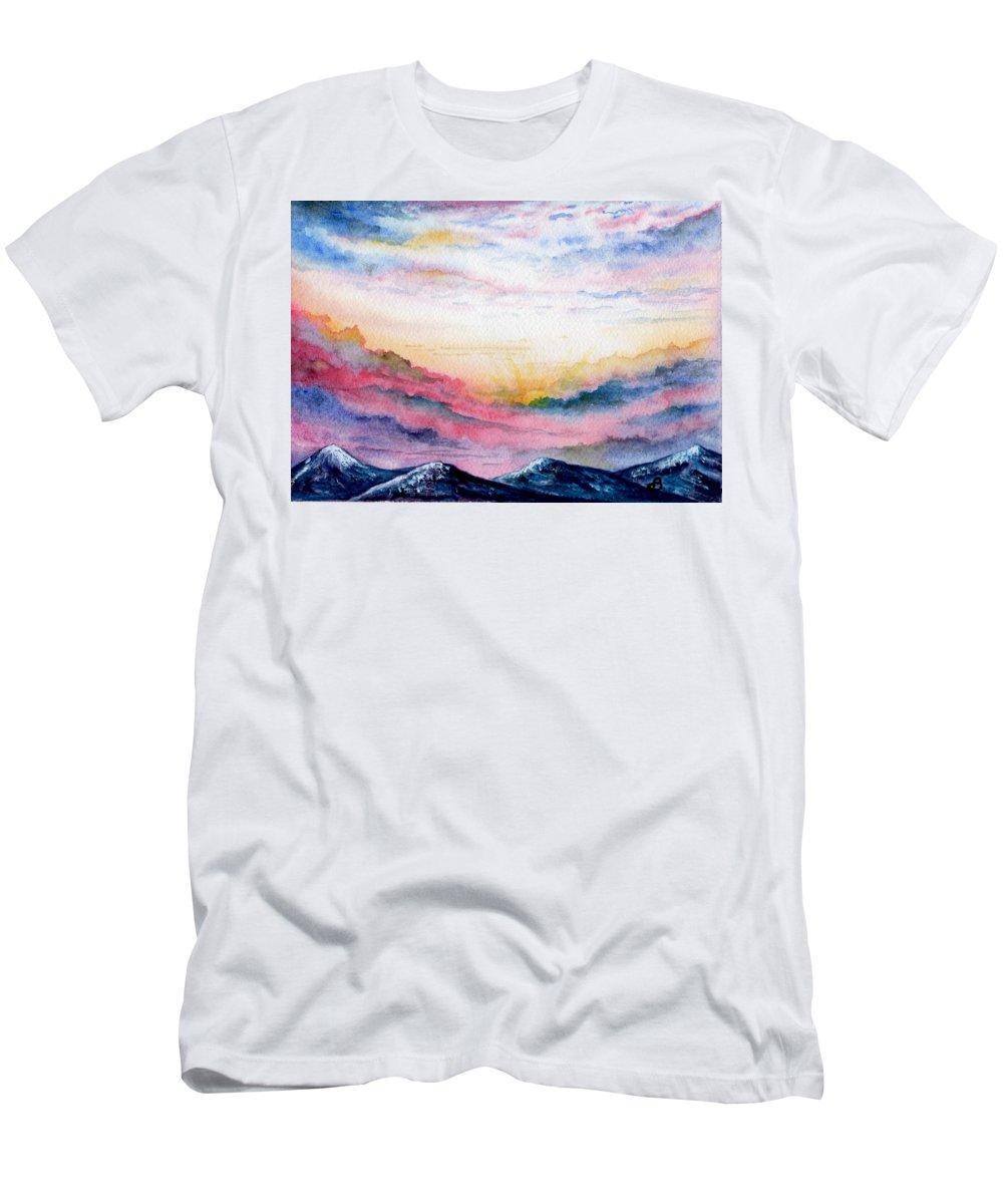 Watercolor Men's T-Shirt (Athletic Fit) featuring the painting Sunrise by Brenda Owen