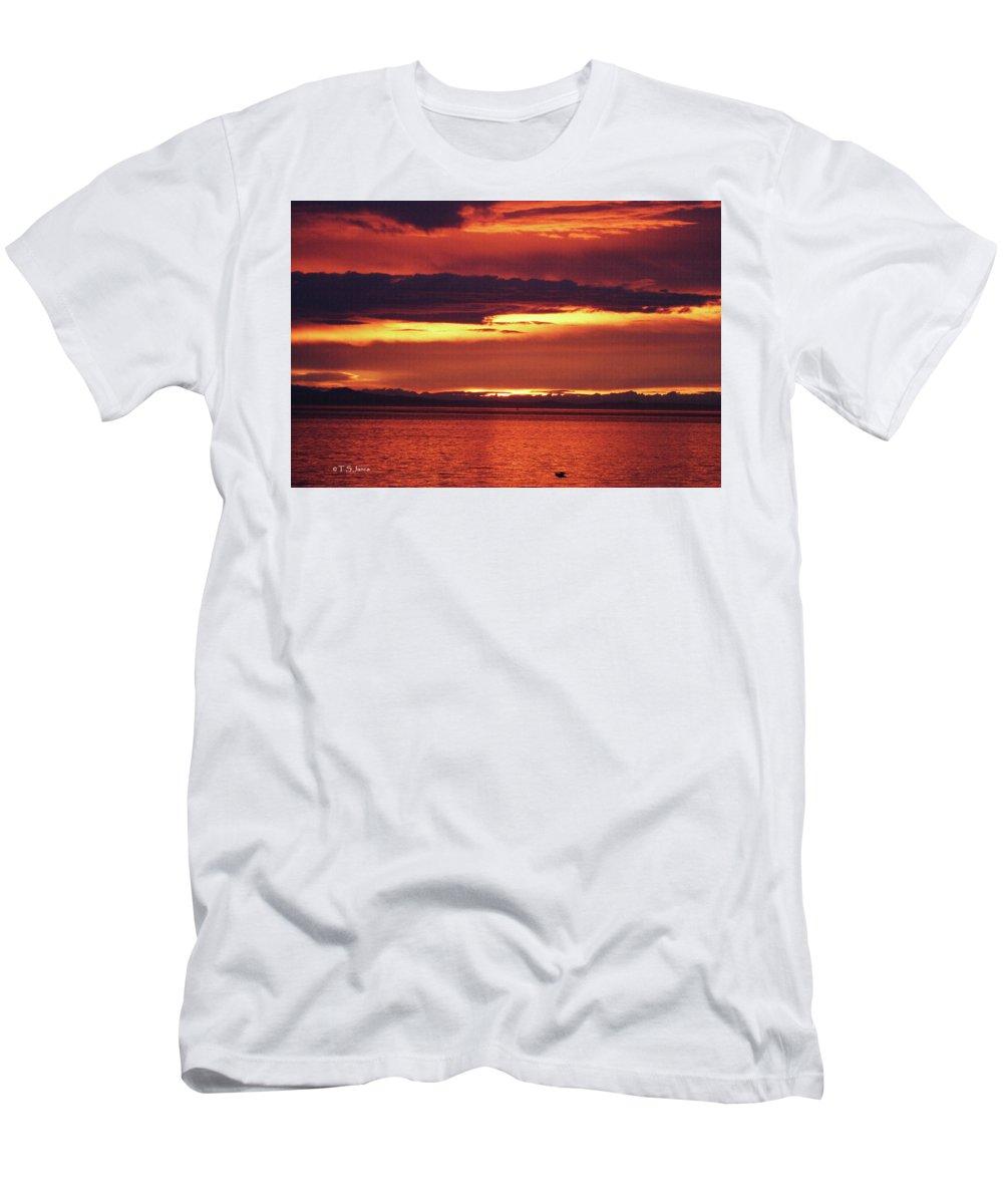 Sunrise Sekiu Washington Men's T-Shirt (Athletic Fit) featuring the photograph Sunrise Sekiu Washington by Tom Janca