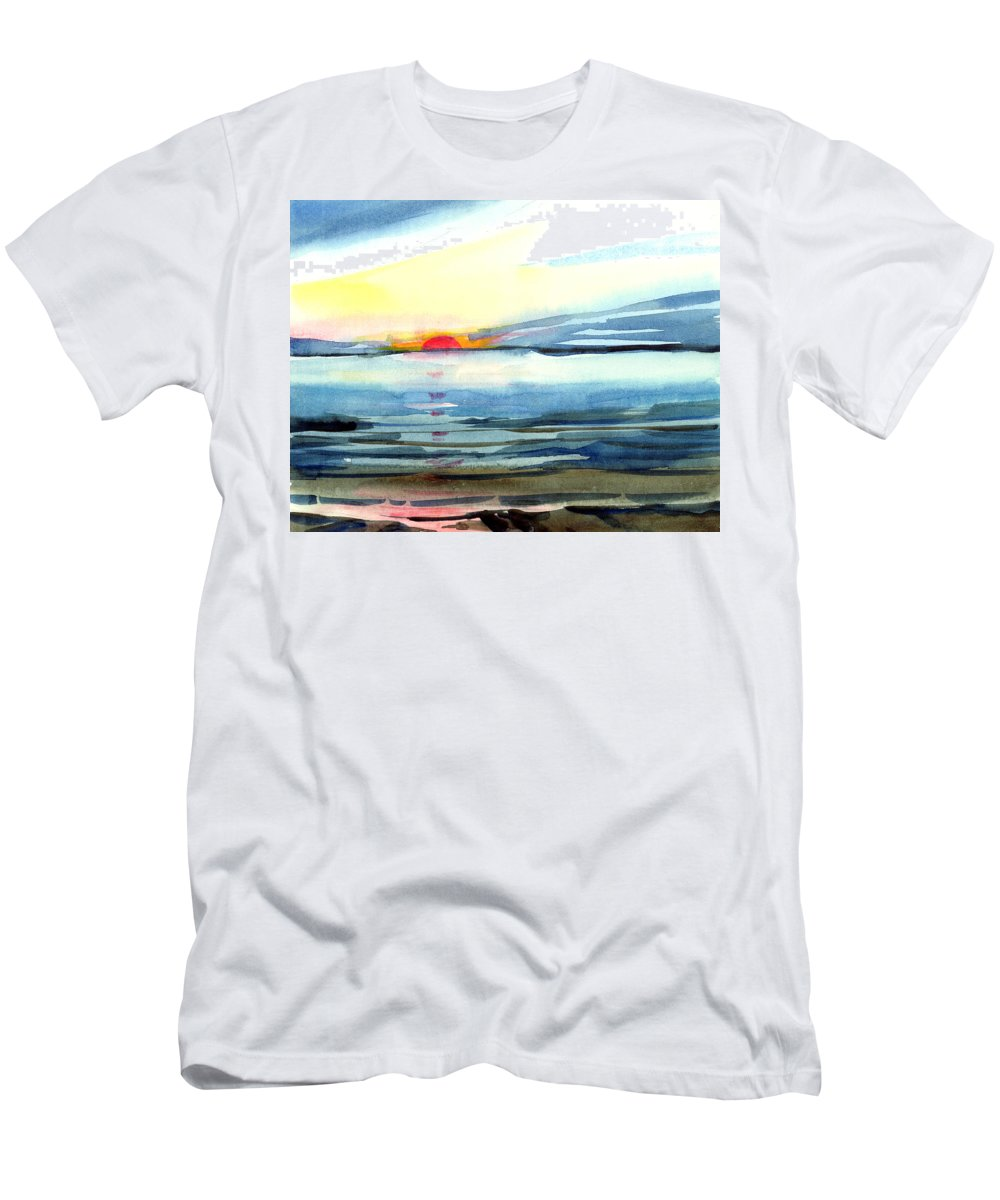 Landscape Seascape Ocean Water Watercolor Sunset Men's T-Shirt (Athletic Fit) featuring the painting Sunset by Anil Nene
