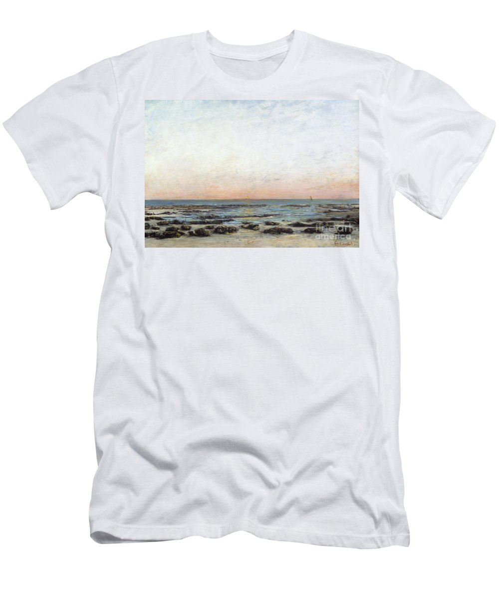 Sunset Men's T-Shirt (Athletic Fit) featuring the painting Sunset by Gustave Courbet