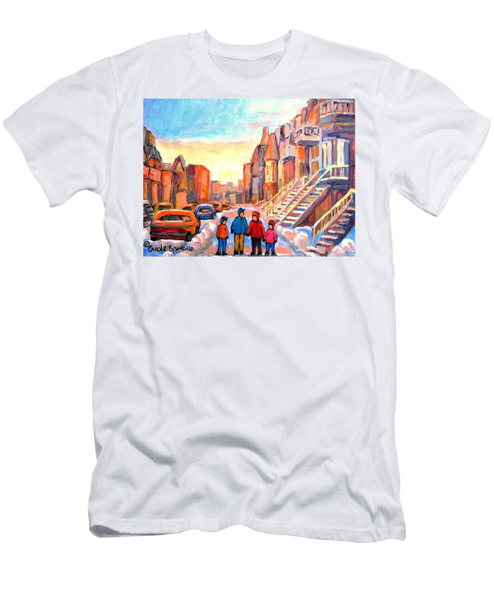 Sunset On Hotel De Ville Montreal T-Shirt featuring the painting Sunset On Hotel De Ville Street Montreal by Carole Spandau