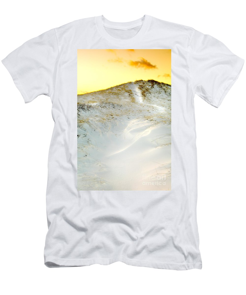Snow Men's T-Shirt (Athletic Fit) featuring the photograph Sunset Over Snow Dune In Cape Cod by Matt Suess