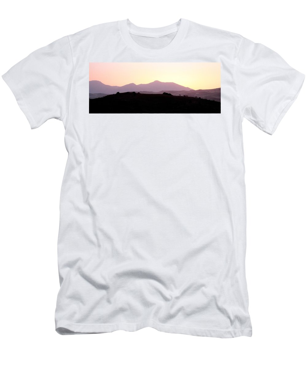 Spain Men's T-Shirt (Athletic Fit) featuring the photograph Sunset Over The Andalucian Mountains Near Villanueva De La Concepcion by Mal Bray