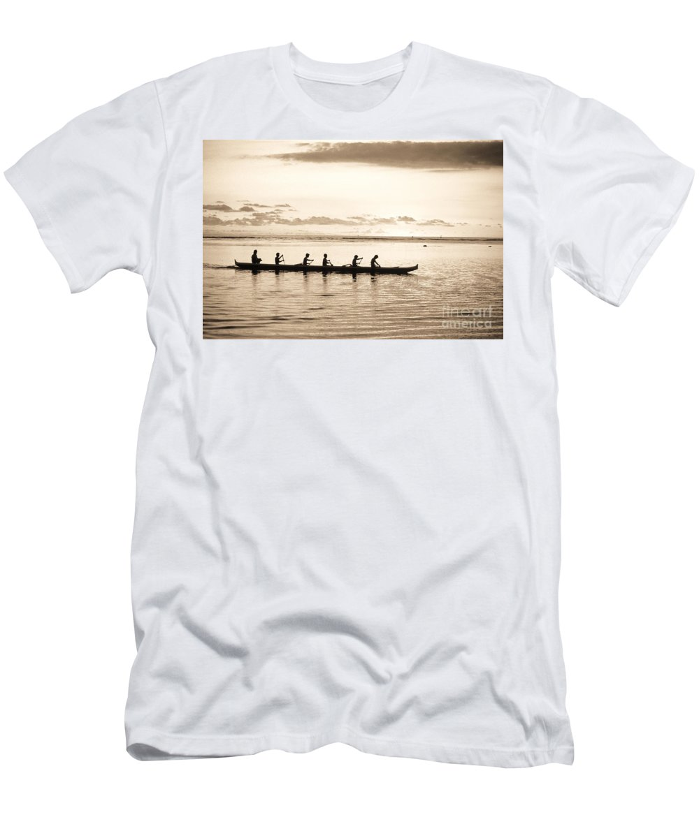 Art Medium Men's T-Shirt (Athletic Fit) featuring the photograph Sunset Paddlers - Sepia by Joe Carini - Printscapes