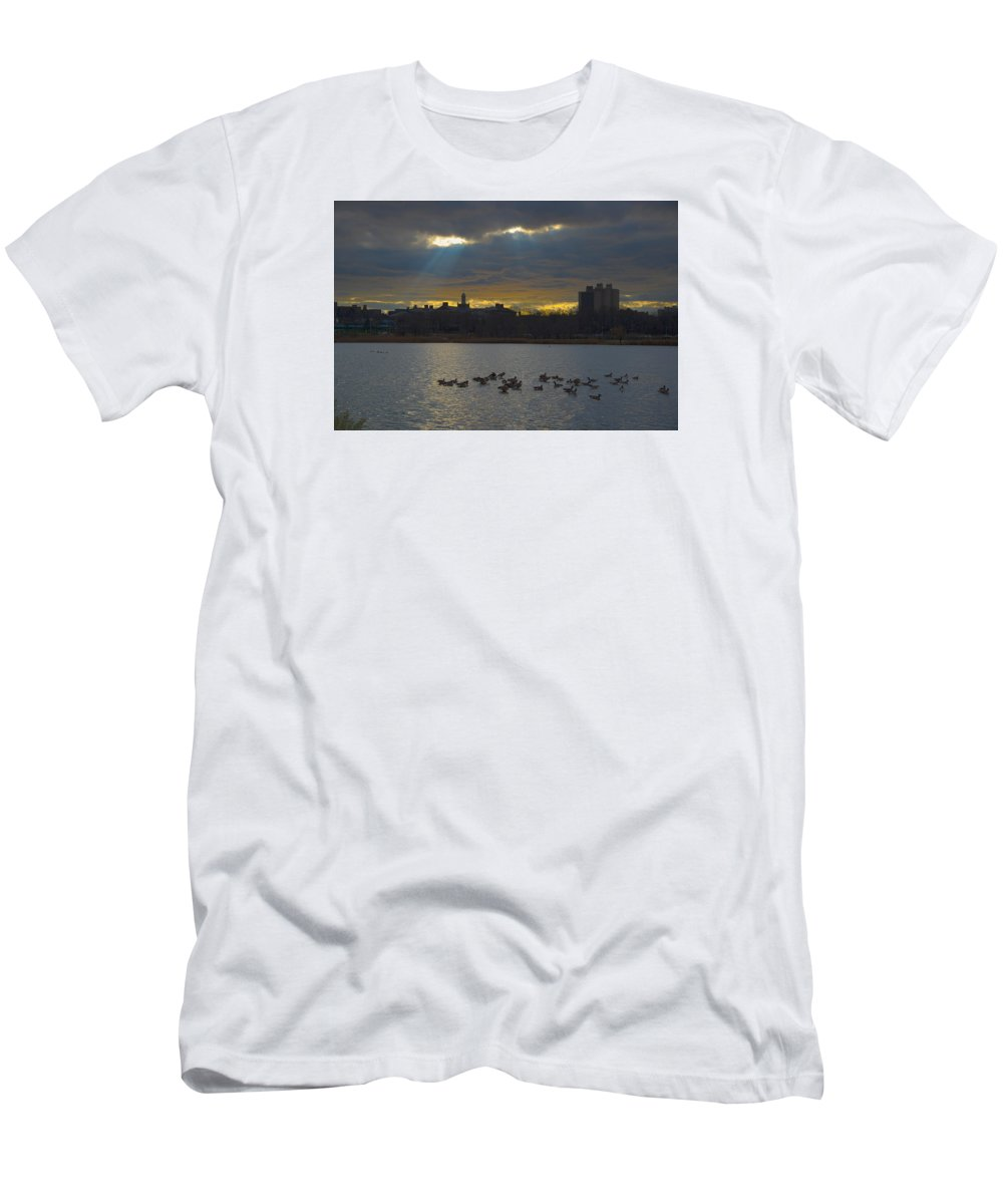 Sunset Men's T-Shirt (Athletic Fit) featuring the photograph Sunset,lake, by Alexander Fuza