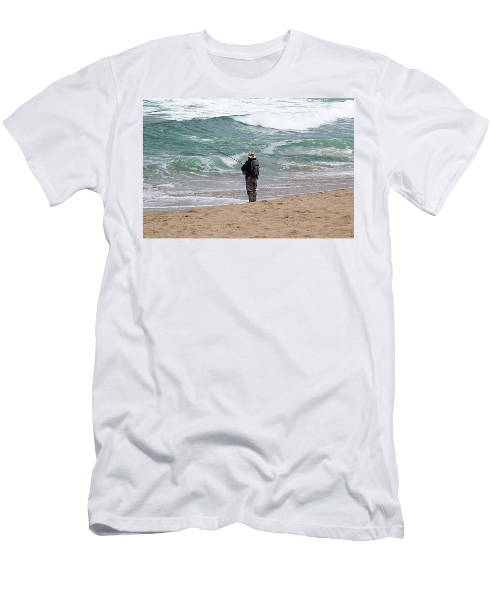 Fish Men's T-Shirt (Athletic Fit) featuring the photograph Surf Fishing by Jay Billings