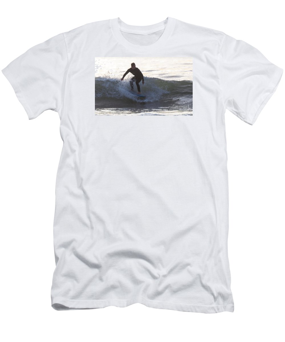 Natanson Men's T-Shirt (Athletic Fit) featuring the photograph Surfing Narragansett by Steven Natanson