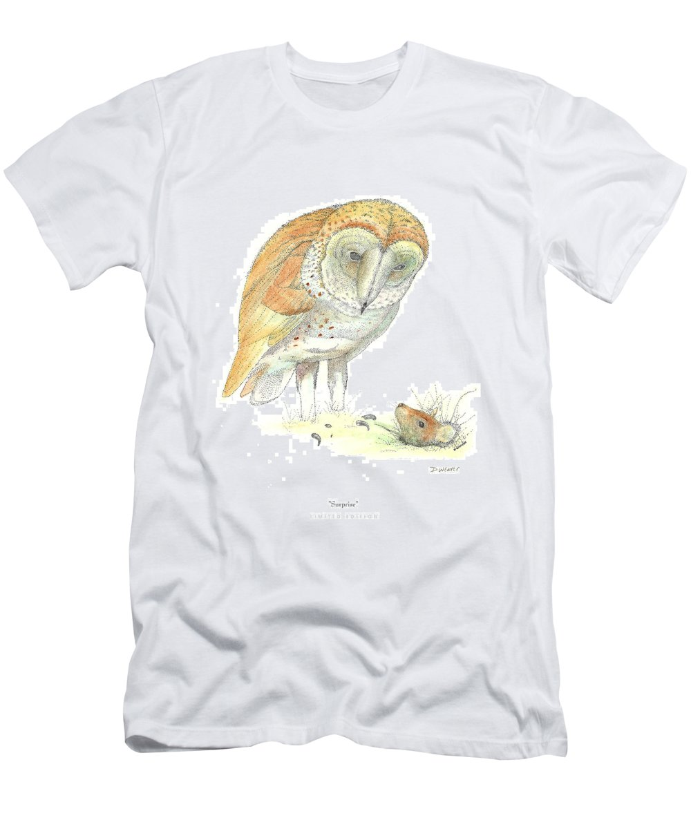 Owl Standing Over Field Mouse Men's T-Shirt (Athletic Fit) featuring the drawing Surprise by David Weaver