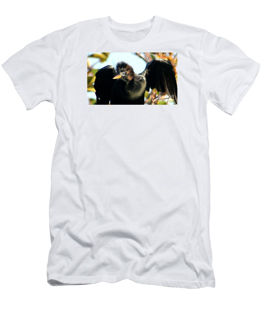 Anhinga Men's T-Shirt (Athletic Fit) featuring the photograph Surprise by Delphine Ross